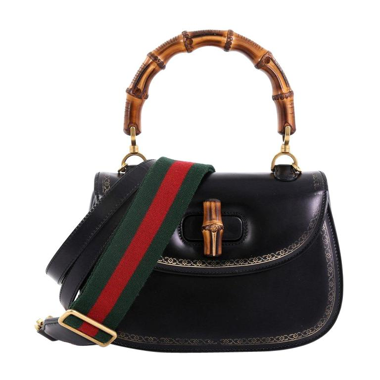 b3d005bd351 Gucci Bamboo Web Top Handle Bag Printed Leather Small For Sale at ...