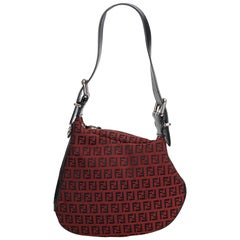 Fendi Red Canvas Fabric Zucchino Oyster Bag Italy