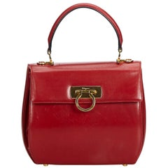 Ferragamo Red  Leather Gancini Handbag Italy
