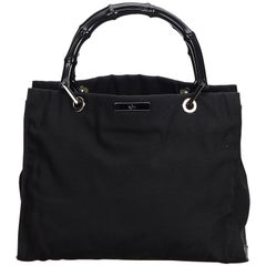 Gucci Black Nylon Fabric Bamboo Handbag Italy