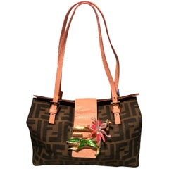 Fendi Zucca Print Canvas Embellished Flower Baguette