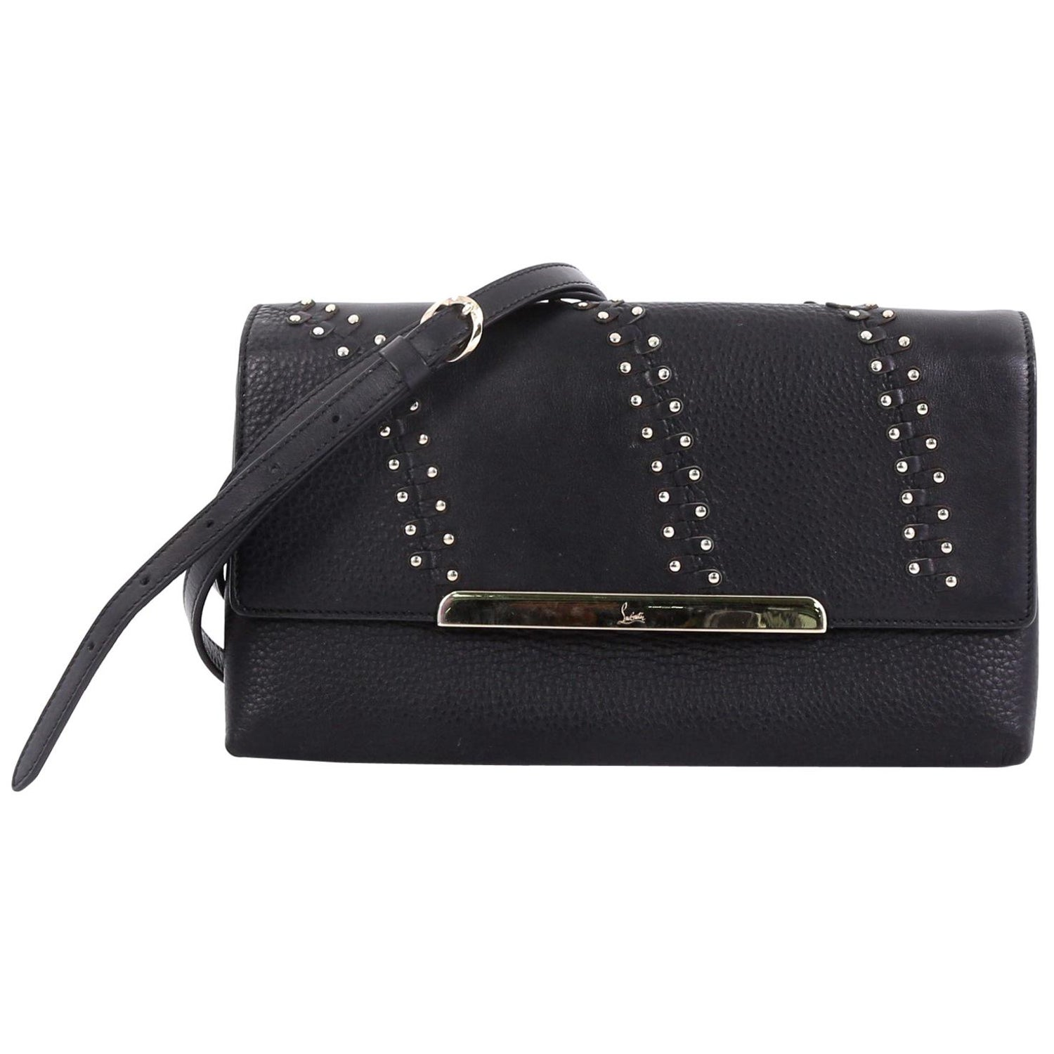 b4b06d976d8 Christian Louboutin Rougissime Crossbody Bag Studded Woven Leather Large