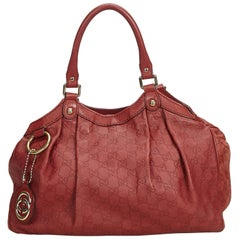 Gucci Red  Leather Guccissima Sukey Italy