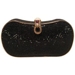 Judith Leiber Black Swarovski Crystal Minaudiere Evening Bag Clutch