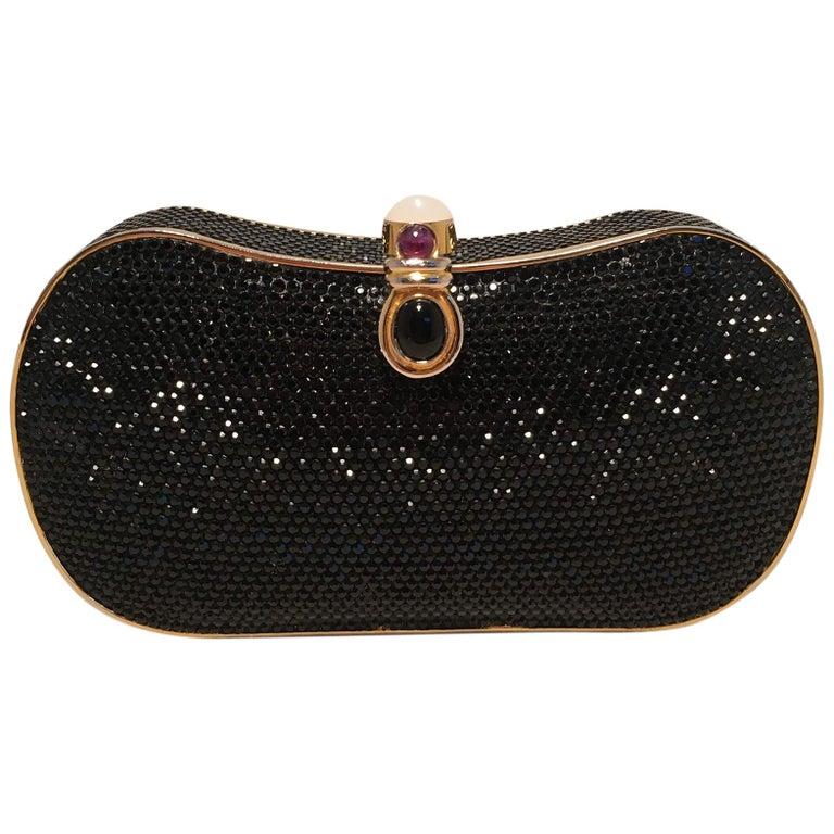08751f851 Judith Leiber Black Swarovski Crystal Minaudiere Evening Bag Clutch For Sale