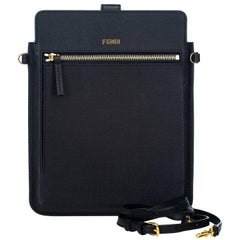 Fendi Black  Leather Crossbody Bag Italy w/ Dust Bag