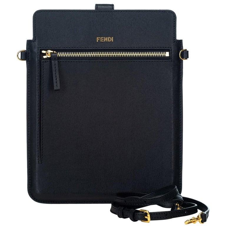 86901ff53d69 Fendi Black Leather Crossbody Bag Italy w  Dust Bag at 1stdibs