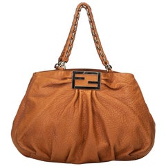 Fendi Brown  Leather Large Mia Shoulder Bag Italy