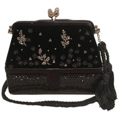Judith Leiber Black Velvet Beaded Swarovski Crystal Two Way Evening Bag Clutch