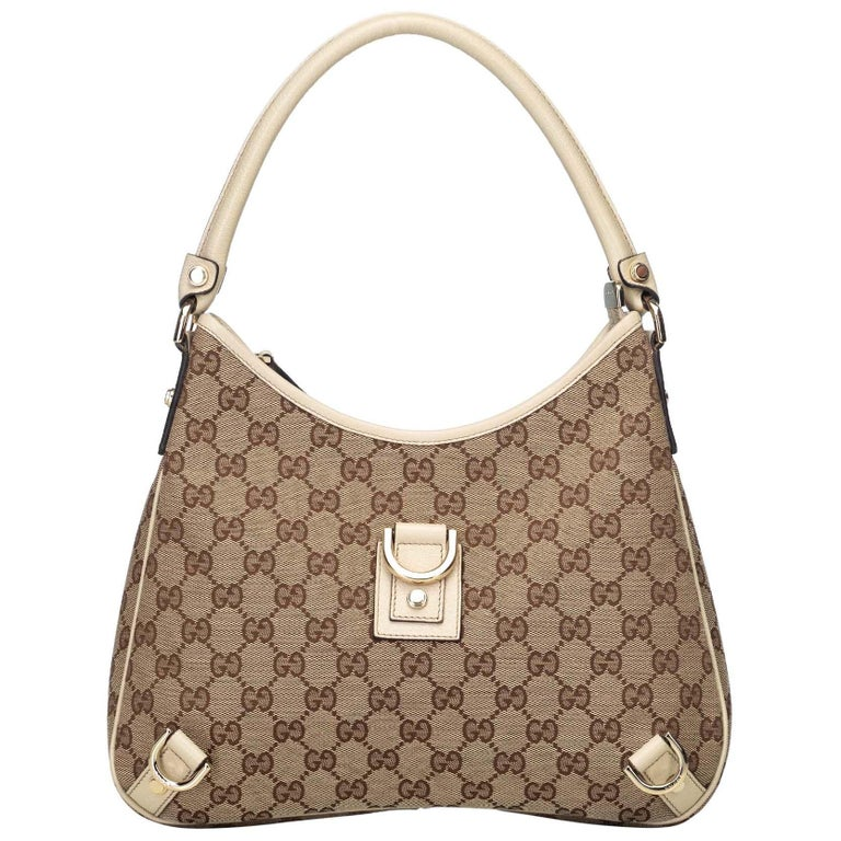 62c0abef69a358 Gucci Brown Beige Jacquard Fabric GG Abbey Hobo Bag Italy w/ Dust Bag For  Sale