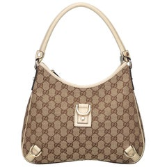 Gucci Brown Beige Jacquard Fabric GG Abbey Hobo Bag Italy w/ Dust Bag