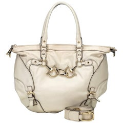 Gucci White  Leather Horsebit Satchel Italy