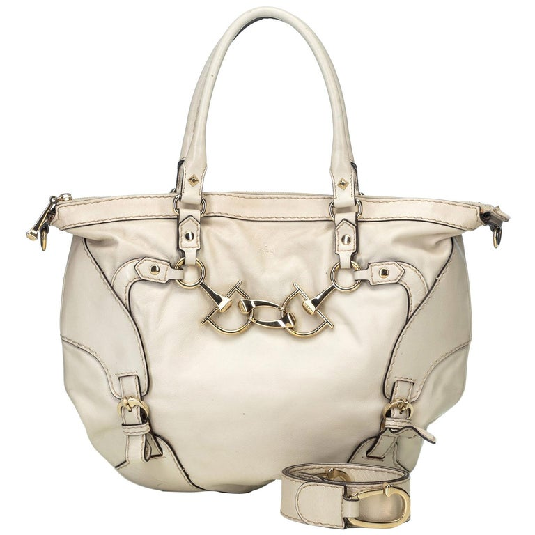 Gucci White  Leather Horsebit Satchel Italy For Sale