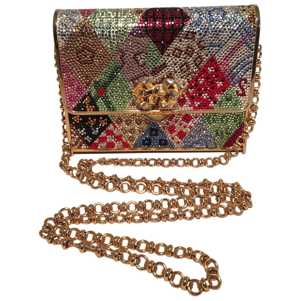 Judith Leiber Multicolor Swarovski Crystal Top Flap Box Minaudiere Evening Bag