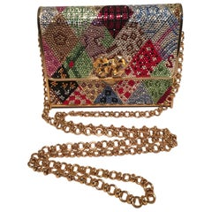 Judith Leiber Multicolor Swarovski Crystal Top Flap Box Minaudiere Evening Bag
