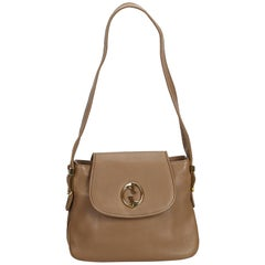 Gucci Brown Light Brown Leather 1973 Shoulder Bag Italy w/ Dust Bag