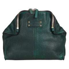 Alexander Mcqueen Green  Leather De Manta Union Clutch Bag Italy