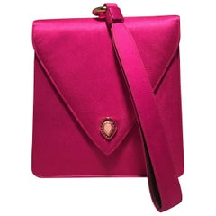 Judith Leiber Vintage Hot Pink Silk Evening Bag Wristlet