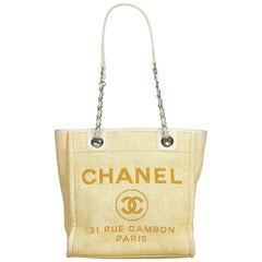 Chanel Brown Beige Raffia Natural Material Mini Deauville Tote Italy