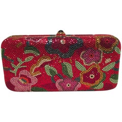 Judith Leiber Red Swarovski Crystal Floral Print Minaudiere Evening Bag Clutch