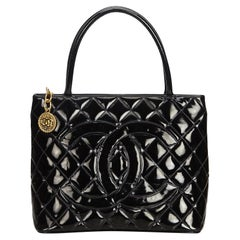 Chanel Black Patent Leather Leather Medallion Tote France