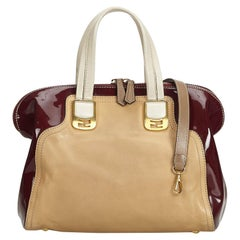 Fendi Brown Beige with Red Bordeaux Leather Chameleon Satchel Italy w/ Dust Bag