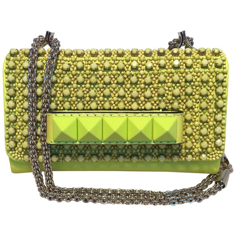 Valentino Garavani Va Va Voom Neon Studded Knuckle Clutch with Strap For Sale