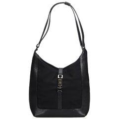Gucci Black Canvas Fabric Jackie Shoulder Bag Italy w/ Dust Bag