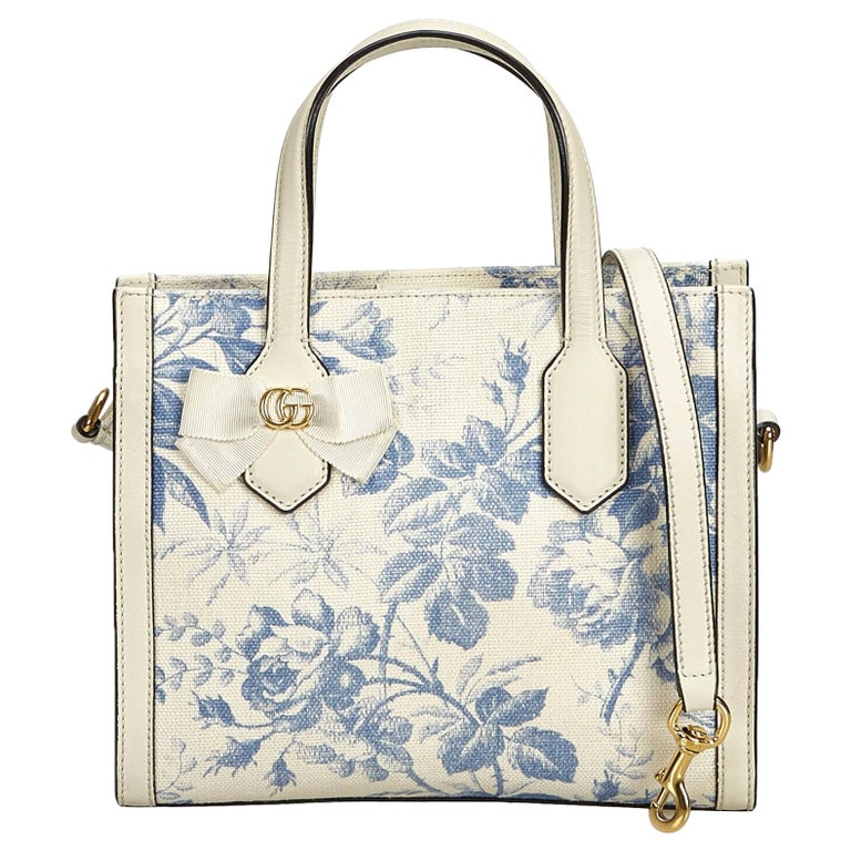 Gucci White Ivory Canvas Fabric Herbarium Satchel Italy For Sale