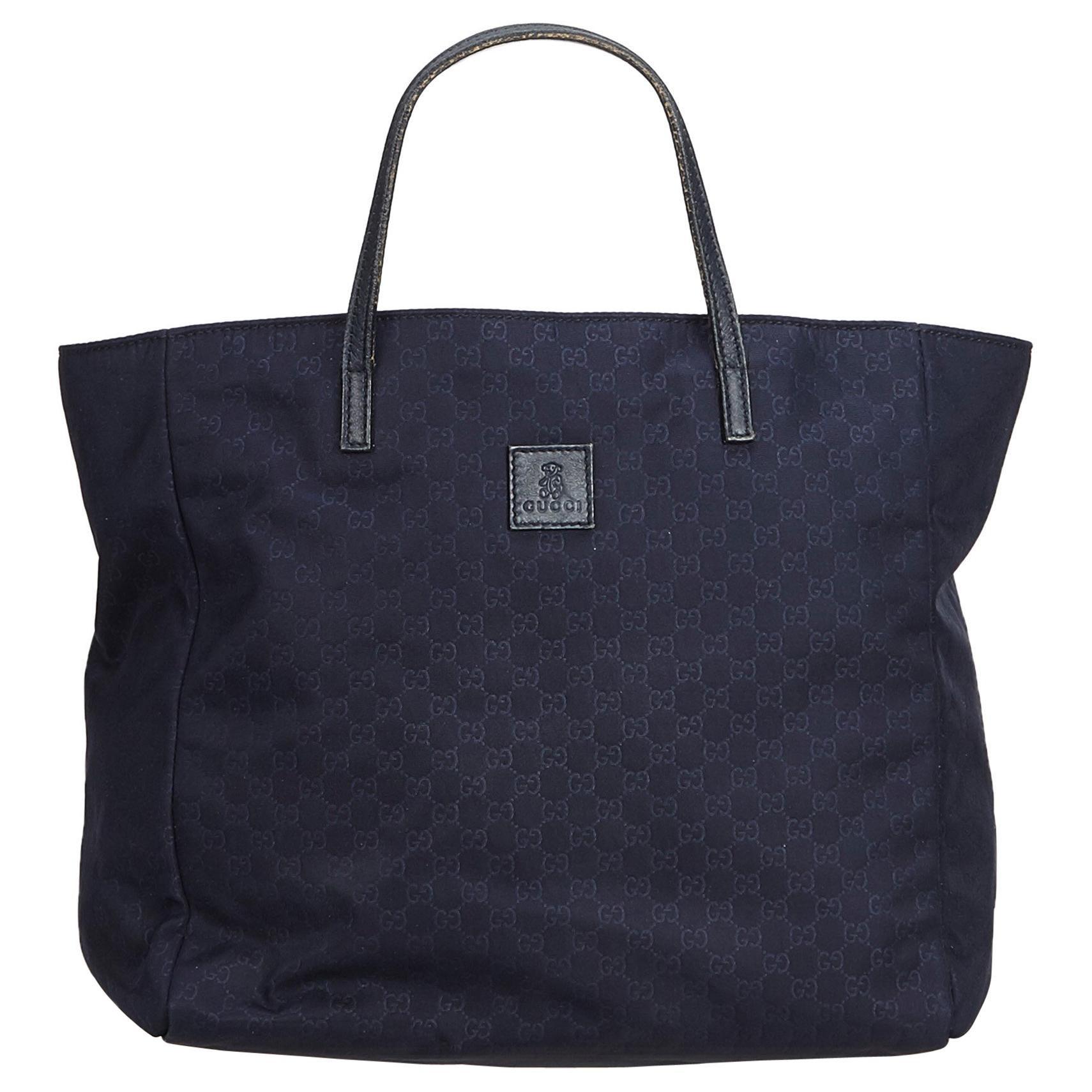 Gucci Blue Navy Nylon Fabric Gg Tote Bag Italy