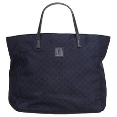 Gucci Blue Navy Nylon Fabric GG Tote Bag Italy