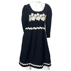 1960s Oscar de la Renta Black and White Embroidered Flower Rickrack 60s Dress