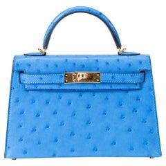 Hermes Kelly 20cm Model II Bluet Ostrich bag with Gold hardware