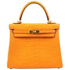 Hermes Kelly 25cm Abricot Alligator with Gold hardware