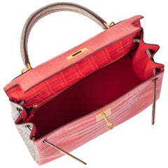 Hermes Kelly 28cm Personalized Bouganvilla and Gris Perle Alligator with Gold