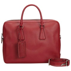 Prada Red  Leather Saffiano Business Bag Italy w/ Dust Bag