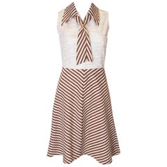 Vintage Brown and White Stripe Day Dress