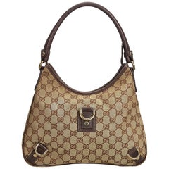 Gucci Brown Beige Canvas Fabric GG Abbey Shoulder Bag Italy
