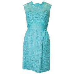 Vintage Jean Allen  Turquoise Lace Cocktail Dress