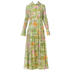 Size 8 1960s 1970s Floral Cotton Dress with Crystal Buttons