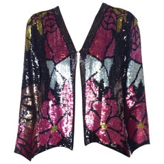 1970s Art Deco Floral Stained Glass Beaded Sequin Silk Jacket