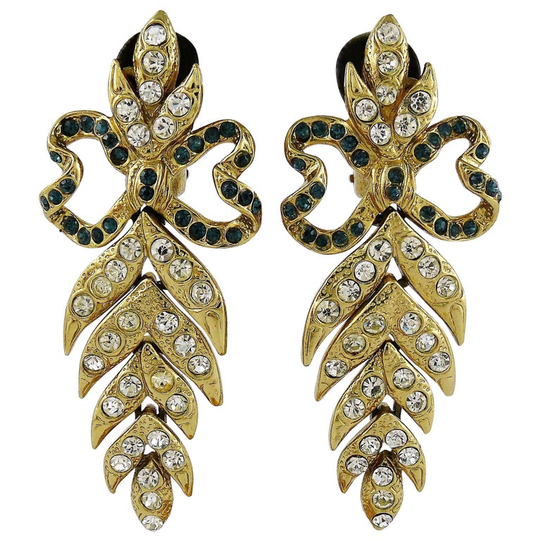 f118328e86a Yves Saint Laurent YSL Vintage Ultra Long Jewelled Bow Leaf Dangling  Earrings For Sale