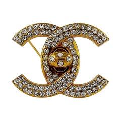 Chanel Vintage Jewelled CC Turn Lock Brooch Fall 1996