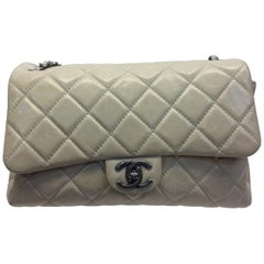 Chanel Tan Leather Flap with Gunmetal Hardware