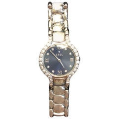 Ebel Stainless Steel Blue Face Watch with Diamonds