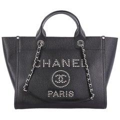 Chanel Deauville Chain Tote Studded Caviar Small