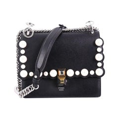 Fendi Kan I Handbag Pearl Embellished Leather Small