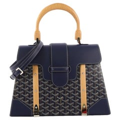 Goyard Saigon Top Handle Bag Coated Canvas with Leather MM
