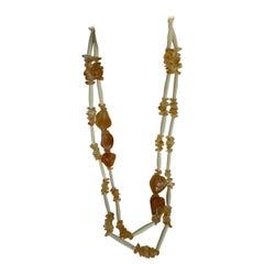 Citrine Horn 925 Vermeil Long Gemstone Necklace