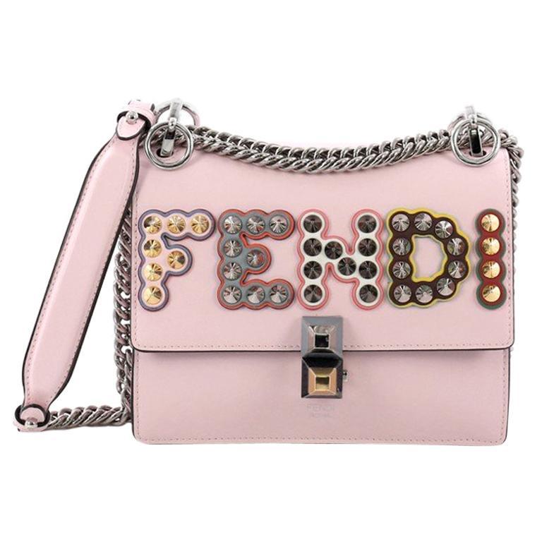 9cae326dc408 Fendi Kan I Handbag Embellished Applique Leather Small For Sale at 1stdibs